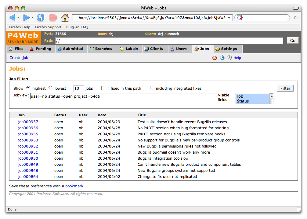 Perforce Defect Tracking Integration User's Guide